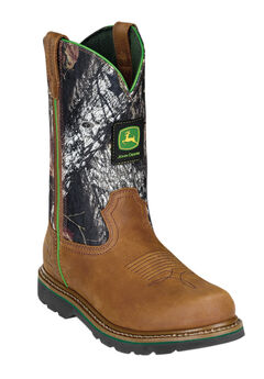 John Deere 11' Camo Pull-On Boots, TAN MOSSY OAK, hi-res