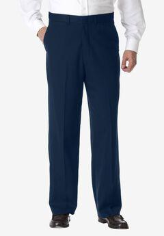 No Hassle® Classic Fit Expandable Waist Plain Front Dress Pants by KS Signature, NAVY