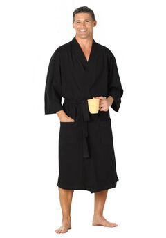 Cotton Jersey Robe, BLACK, hi-res