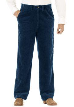 Six-Wale Corduroy Plain Front Pants, NAVY