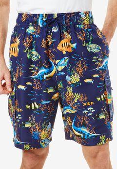 Printed Cargo Swim Shorts by KS Island™, TROPICAL FISH, hi-res