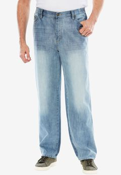Loose Fit Side Elastic 5-Pocket Jeans by Liberty Blues®,