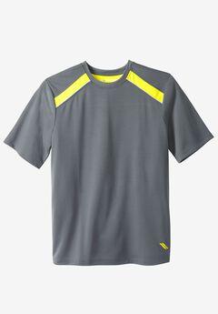Power Wicking Short Sleeve Tee by KS Sport™, STEEL NEON YELLOW, hi-res