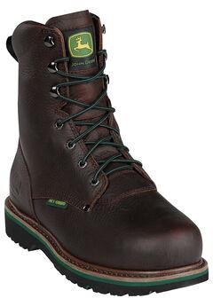 John Deere 8' Steel Toe Lace Boot, DARK BROWN, hi-res