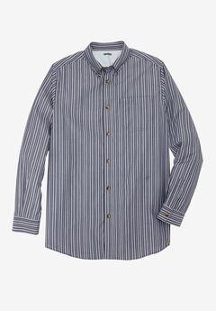 Wrinkle-Resistant Long Sleeve Sport Shirt, NAVY STRIPE, hi-res