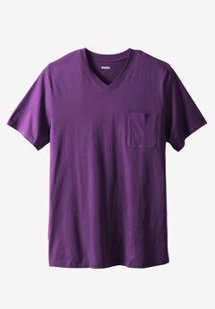 Longer-Length Lightweight V-neck Tee, EGGPLANT, hi-res