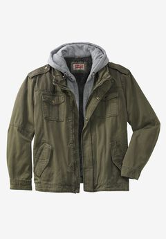 Hooded Military Trucker Jacket by Levi's®, OLIVE