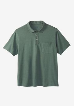 Shrink-Less™  Lightweight Short-Sleeve Polo Tee, HEATHER DEEP EMERALD