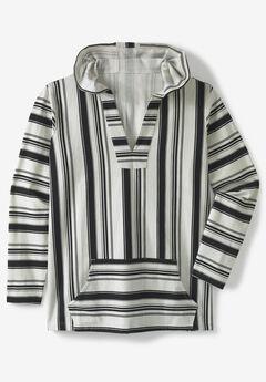 Pullover Gauze Hoodie, BLACK STRIPE, hi-res