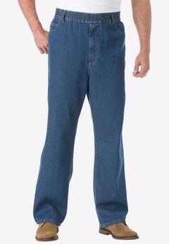 Loose Fit Comfort Waist Jeans , STONEWASH, hi-res