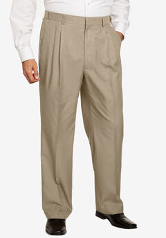 No Hassle® Classic Fit Expandable Waist Double-Pleat Dress Pants by KS Signature, TAUPE, hi-res