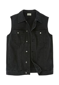 Button Front Cotton Denim Vest by Liberty Blues®,