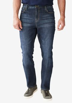 Straight Fit 5-Pocket Stretch Jeans by Liberty Blues®, DARK BLUE WASH, hi-res