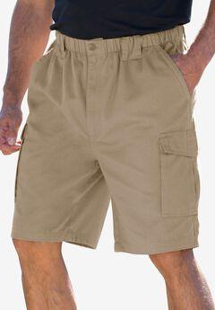 9' Renegade Cargo Shorts with Full Elastic Waist by Boulder Creek®, DARK KHAKI, hi-res