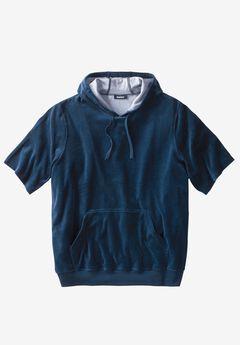 Velour Short-Sleeve Pullover Hoodie, NAVY
