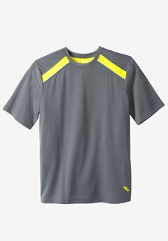 Power Wicking Short Sleeve Tee by KS Sport™, STEEL NEON YELLOW, hi-res
