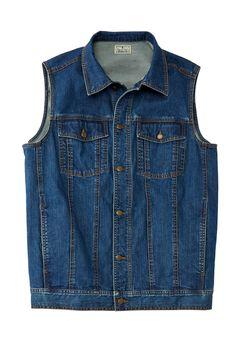 Button Front Cotton Denim Vest by Liberty Blues®, BLUE WASH, hi-res