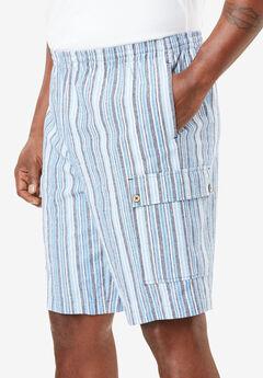 Gauze Cotton Cargo Shorts with Inside Drawstring, STRIPE, hi-res
