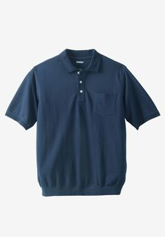 Banded Bottom Pocket Polo Shirt, NAVY, hi-res