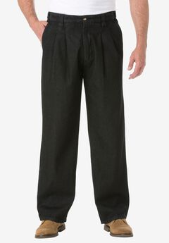 Relaxed Fit Comfort Waist Pleat-Front Expandable Jeans, BLACK DENIM, hi-res