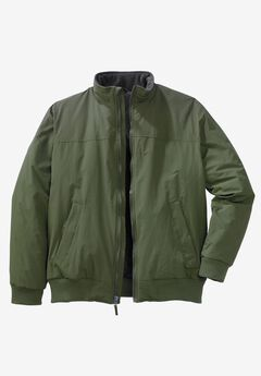 Fleece-Lined Bomber Jacket, OLIVE
