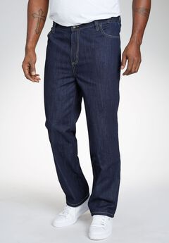 Relaxed Fit Side Elastic 5-Pocket Jeans by Liberty Blues®, DARK INDIGO