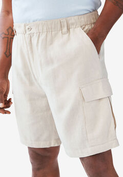 Linen Cargo Shorts by KS Island™, STONE, hi-res