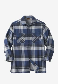 Fleece-Lined Flannel Shirt Jacket by Boulder Creek®, NAVY PLAID, hi-res