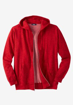 Fleece Zip-Front Hoodie, HEATHER RED