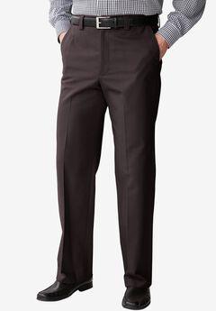 Full Elastic Plain Front Wrinkle-Free Pants, AFTER DARK, hi-res