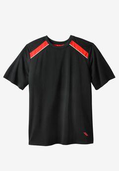Power Wicking Short Sleeve Tee by KS Sport™, BLACK BLAZE RED
