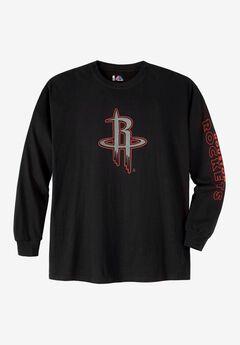 NBA® Long-Sleeve Black Logo Tee, ROCKETS, hi-res