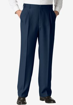 Easy-Care Classic Fit Expandable Waist Double-Pleat Front Dress Pants, NAVY