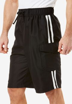 Double Stripe Boardshorts, BLACK, hi-res
