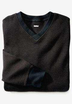 Heavyweight Thermal Underwear V-Neck Tee, BLACK