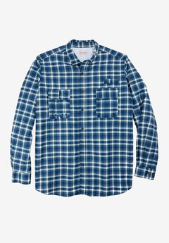 Off-Shore Long-Sleeve Sport Shirt by Boulder Creek®, BLUE INDIGO PLAID