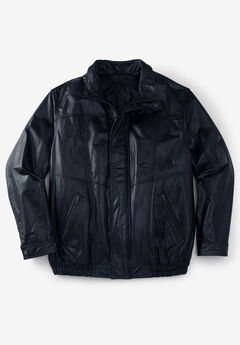 Leather Bomber Jacket, BLACK, hi-res