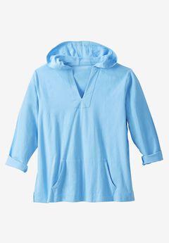 Pullover Gauze Hoodie, OCEAN BLUE, hi-res