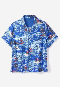 Island Print Rayon Shirt by KS Island™, ISLAND SANTA