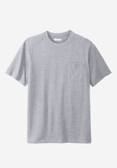 Shrink-Less™ Lightweight Pocket Crewneck Tee, HEATHER GREY