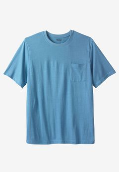 Shrink-Less™ Pocket Crewneck Tee, HEATHER ATLANTIC, hi-res