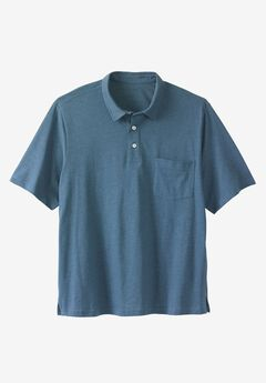 Shrink-Less™  Lightweight Short-Sleeve Polo Tee, HEATHER SLATE BLUE