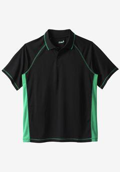 Raglan Sleeve Swim Polo, BLACK SEA GREEN