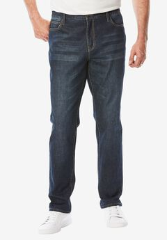 Relaxed Tapered Fit 5-Pocket Stretch Jeans by Liberty Blues®, DARK BLUE WASH, hi-res