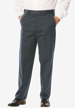 Classic Fit Wrinkle Free Expandable Waist Plain Front Pants, CHARCOAL, hi-res