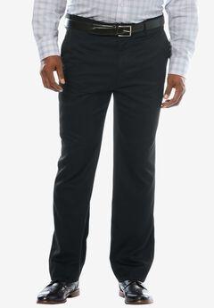 Easy-Care Modern Fit Expandable Waist Plain Front Dress Pants, BLACK, hi-res