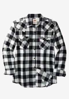 Lassen Brushed Flannel Shirt by Levi's®, BLACK CHECK, hi-res