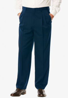 No Hassle® Modern Fit Expandable Waist Double-Pleat Dress Pants, NAVY