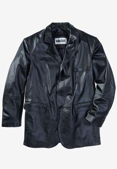 Three-Button Leather Jacket, BLACK, hi-res