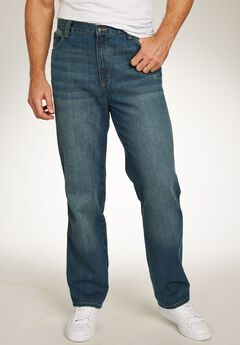 Loose Fit Side Elastic 5-Pocket Jeans by Liberty Blues®, BLUE WASH